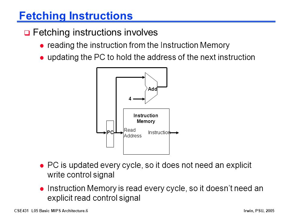 CSE431 L05 Basic MIPS Architecture.6Irwin, PSU, 2005 Fetching Instructions  Fetching instructions involves l reading the instruction from the Instruction Memory l updating the PC to hold the address of the next instruction Read Address Instruction Memory Add PC 4 l PC is updated every cycle, so it does not need an explicit write control signal l Instruction Memory is read every cycle, so it doesn't need an explicit read control signal