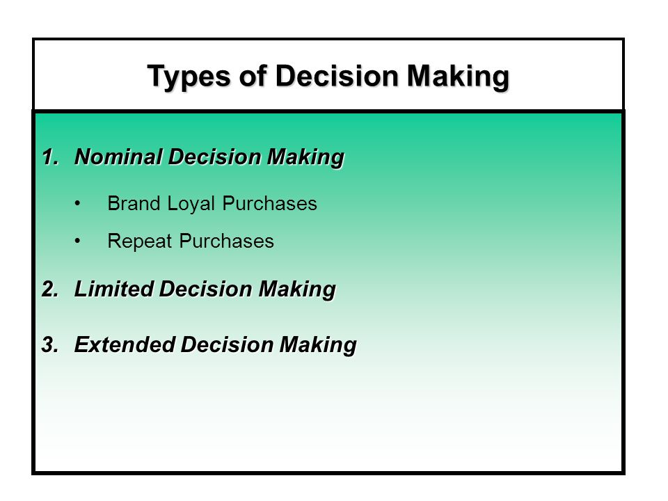 Types of Decision Making 1.Nominal Decision Making Brand Loyal Purchases Repeat Purchases 2.Limited Decision Making 3.Extended Decision Making