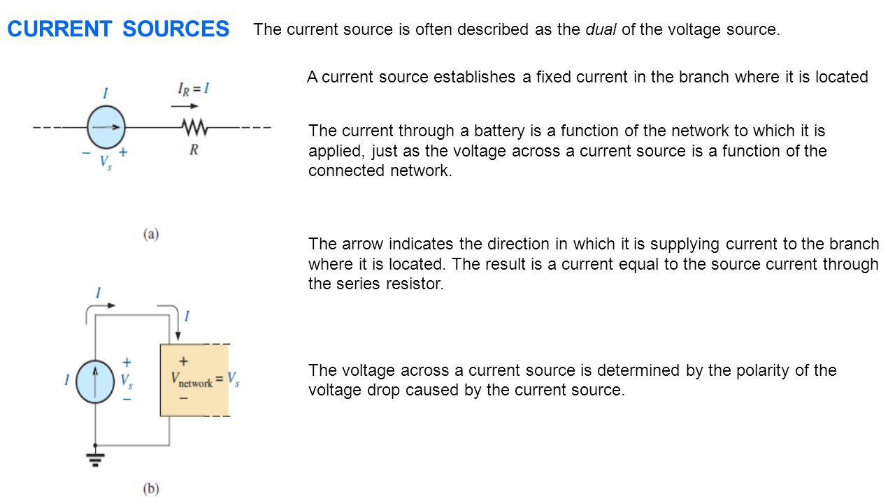 CURRENT SOURCES The current source is often described as the dual of the voltage source.