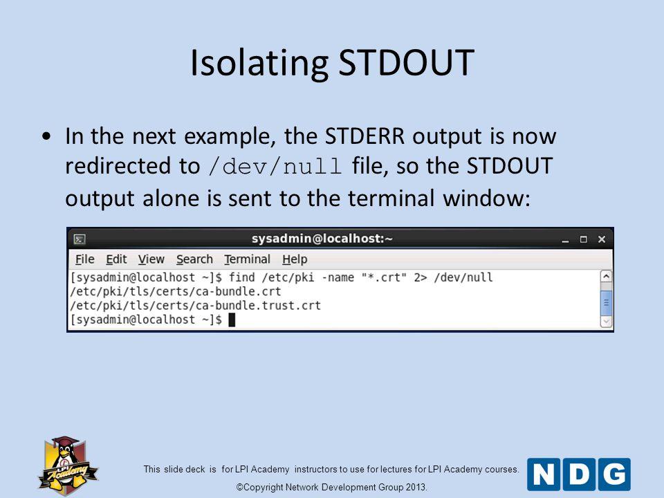 Redirect standard error to null windows