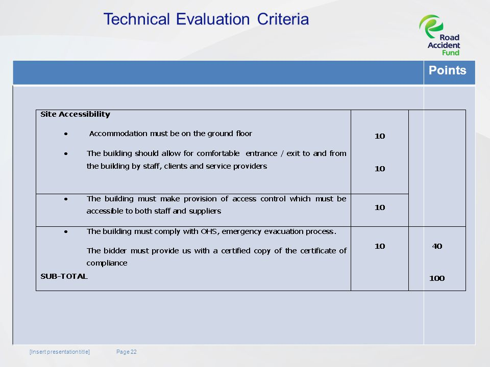 Page 22[Insert presentation title] Points Technical Evaluation Criteria