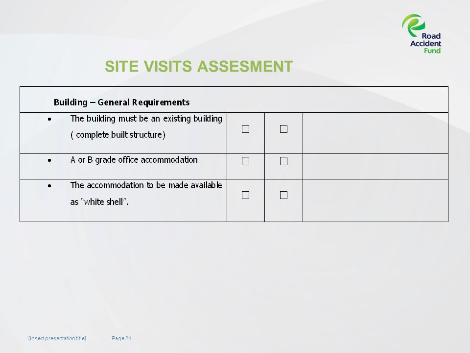 Page 24[Insert presentation title] SITE VISITS ASSESMENT