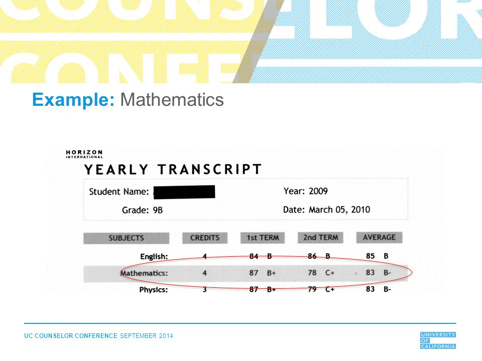 UC COUNSELOR CONFERENCE SEPTEMBER 2014 Example: Mathematics