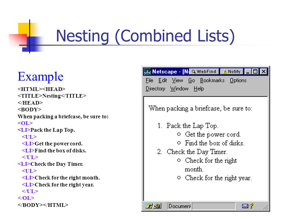 Introduction to HTML Lists Why Use Lists? Lists are one way to