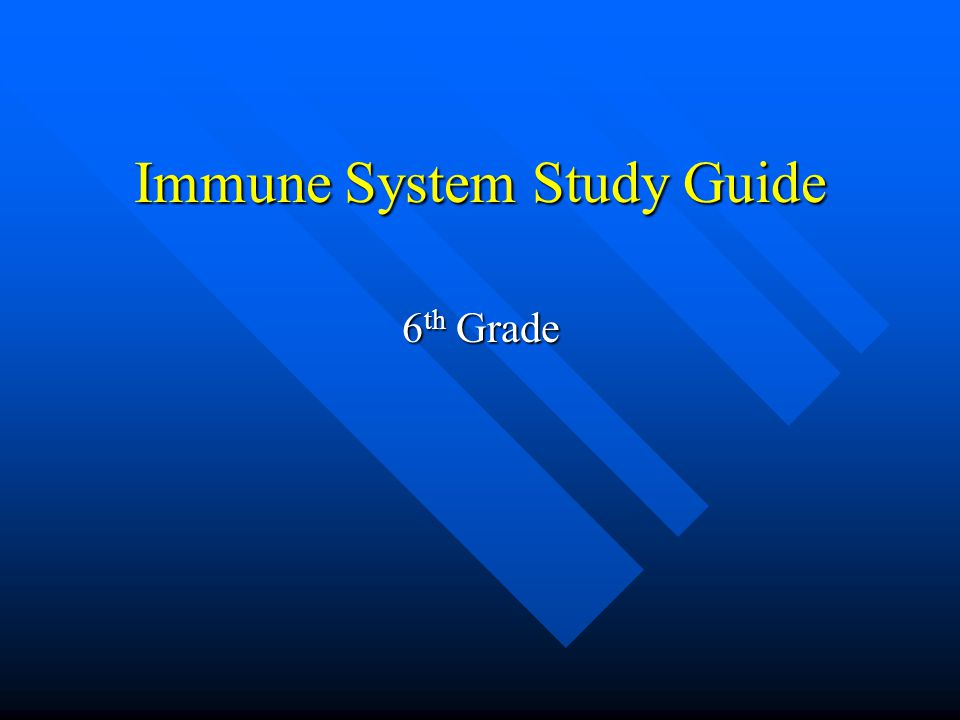 Immune System Study Guide 6 th Grade