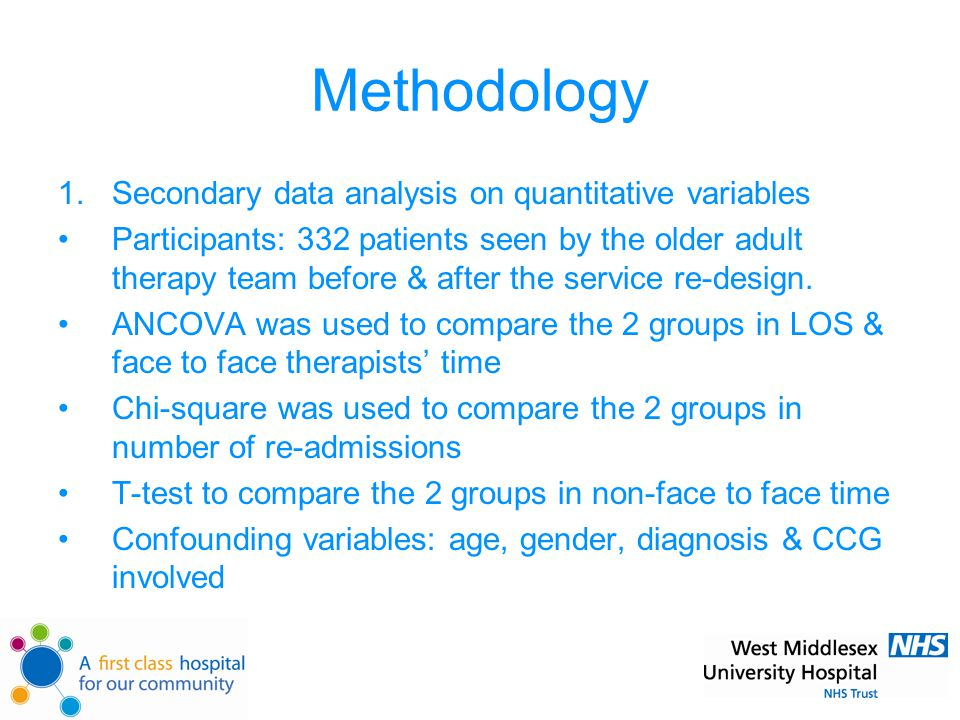 Methodology 1.Secondary data analysis on quantitative variables Participants: 332 patients seen by the older adult therapy team before & after the service re-design.