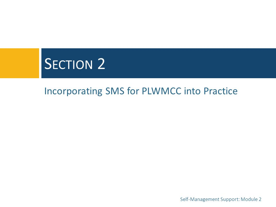 Self-Management Support: Module 2 S ECTION 2 Incorporating SMS for PLWMCC into Practice