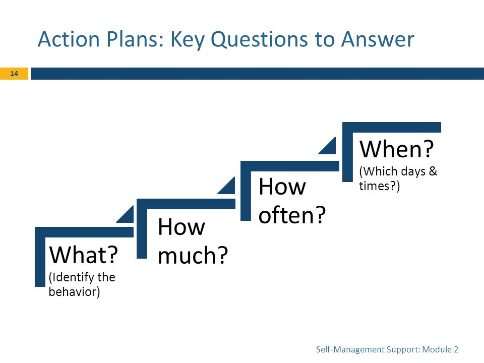 Action Plans: Key Questions to Answer Self-Management Support: Module 2 14 What.