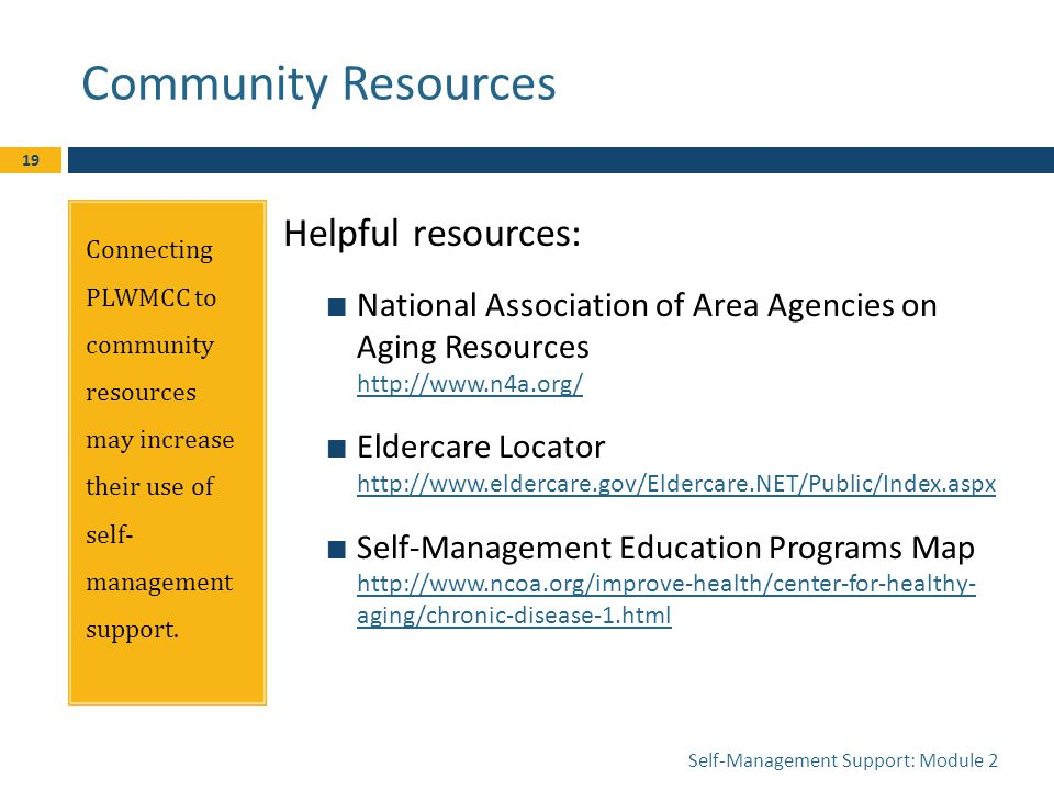 Community Resources Connecting PLWMCC to community resources may increase their use of self- management support.