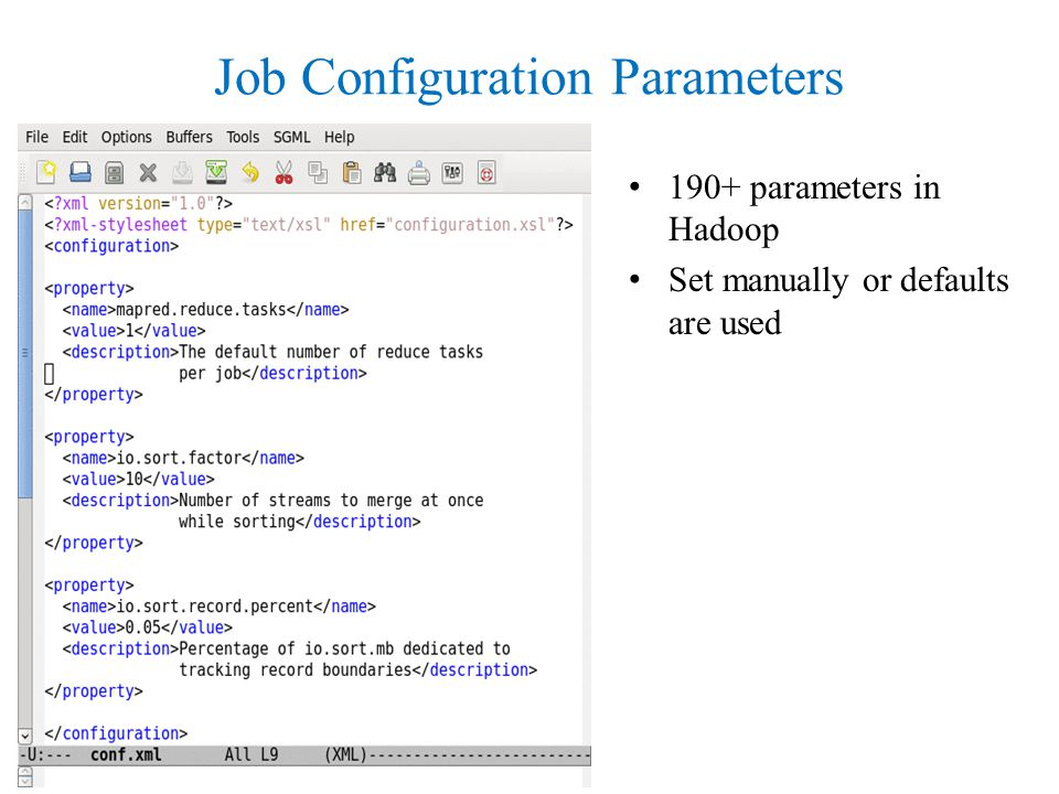 Job Configuration Parameters 190+ parameters in Hadoop Set manually or defaults are used