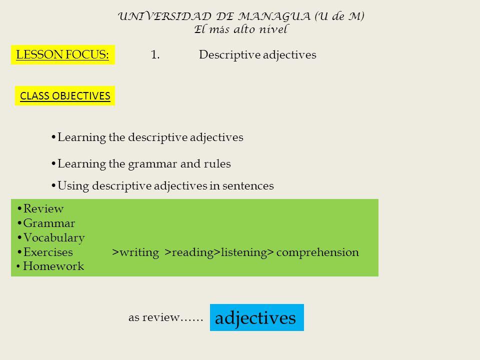 Msc Ivette A Navarro Canales1 English Ii Grammar Present. Worksheet. Using Descriptive Adjectives Worksheet Module 9 At Mspartners.co