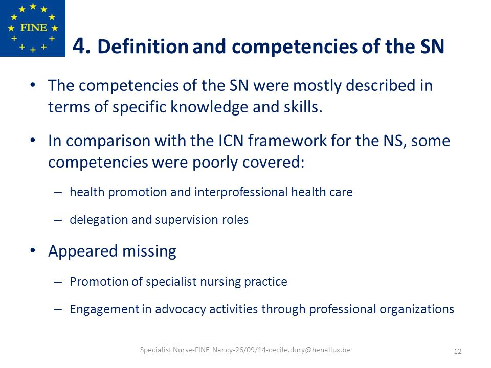 Specialist nurse in Europe: education, regulation and role A