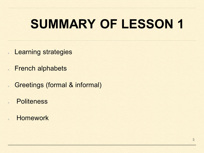 Et Summary Of Lesson 1 2 Lesson 2 2 Summary Of Lesson 1 Learning