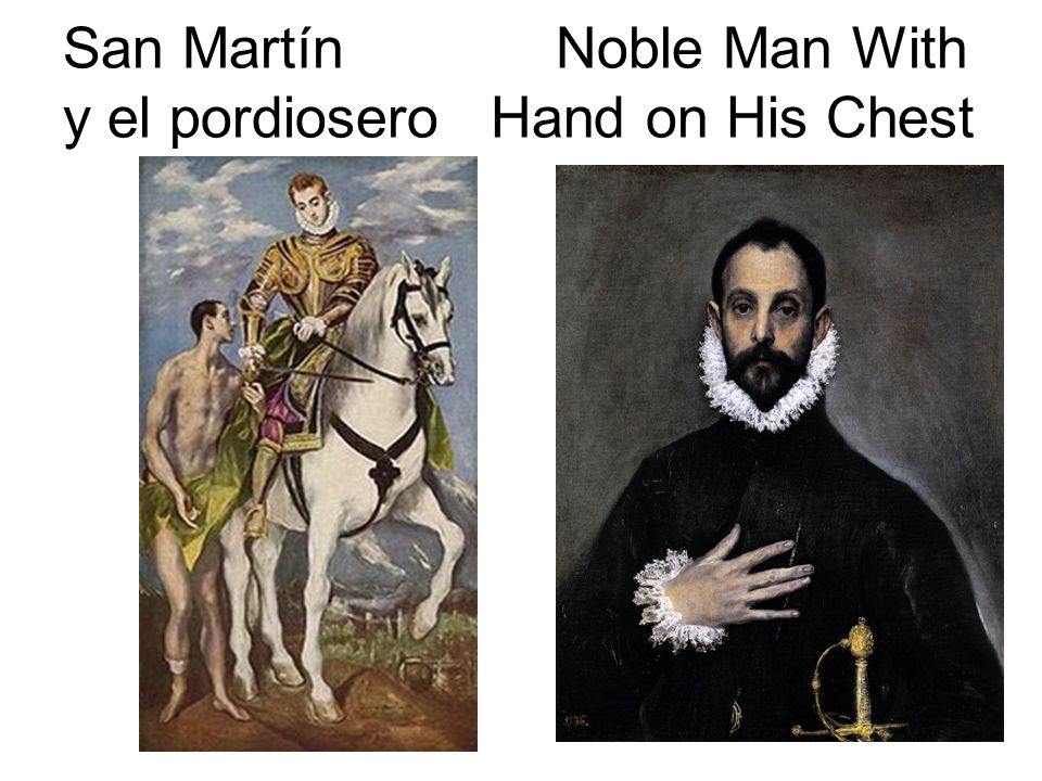 San Martín Noble Man With y el pordiosero Hand on His Chest