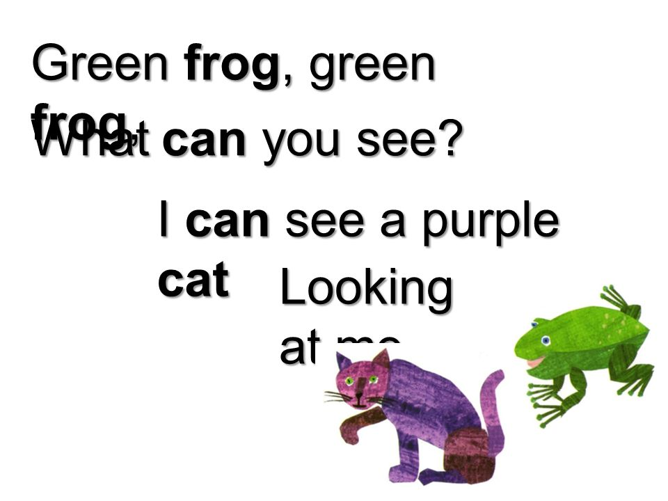 Green frog, green frog, What can you see I can see a purple cat Looking at me