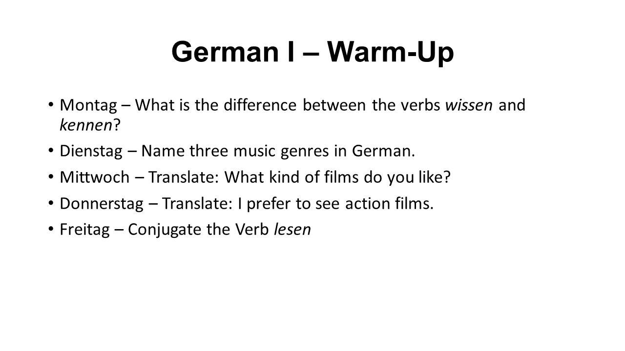 wissen and kennen conjugation