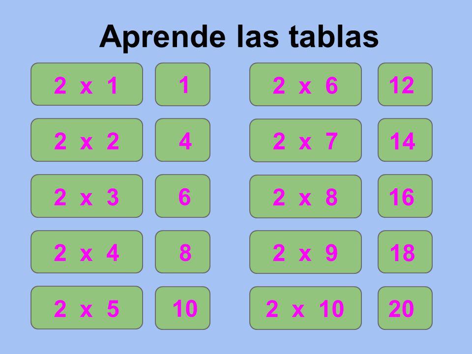 Aprende Las Tablas 2 X 1 2 X 2 2 X 3 2 X 4 2 X X 6 2 X 7 2 X 8 2 X 9