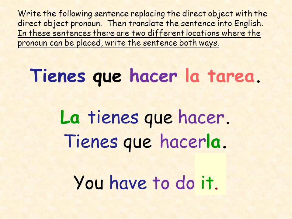 Complementos Directos (Direct Objects). What is a direct object? The direct  object of the sentence receives the action of the verb. Play the guitar.  Every. - ppt download