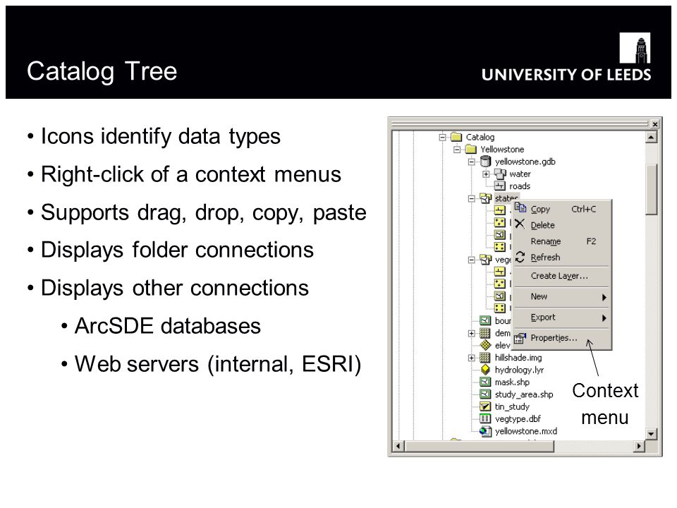 Catalog Tree Icons identify data types Right-click of a context menus Supports drag, drop, copy, paste Displays folder connections Displays other connections ArcSDE databases Web servers (internal, ESRI) Context menu 15