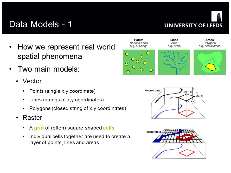 Data Models - 1 How we represent real world spatial phenomena Two main models: Vector Points (single x,y coordinate) Lines (strings of x,y coordinates) Polygons (closed string of x,y coordinates) Raster A grid of (often) square-shaped cells Individual cells together are used to create a layer of points, lines and areas 8