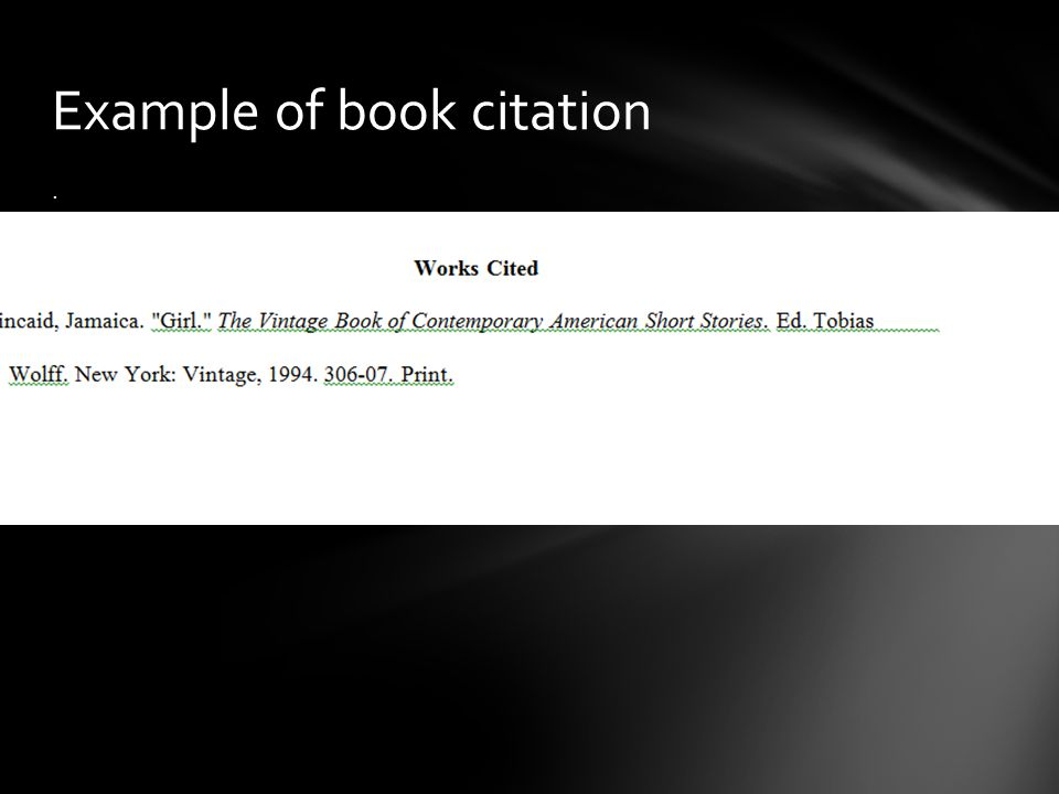 . Example of book citation