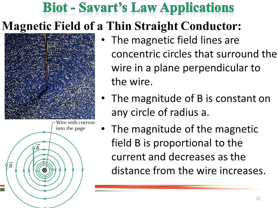 12 Magnetic Field of a Thin Straight Conductor: The magnetic field lines are concentric circles that surround the wire in a plane perpendicular to the wire.