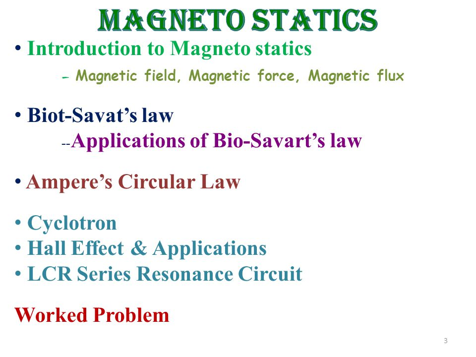 3 Introduction to Magneto statics – Magnetic field, Magnetic force, Magnetic flux Biot-Savat's law -- Applications of Bio-Savart's law Ampere's Circular Law Cyclotron Hall Effect & Applications LCR Series Resonance Circuit Worked Problem