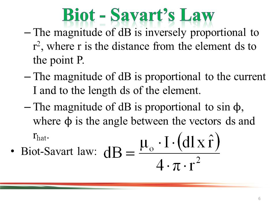 6 –The magnitude of dB is inversely proportional to r 2, where r is the distance from the element ds to the point P.