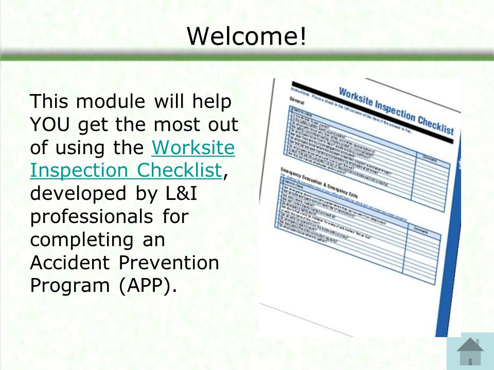 Module 1 Worksite Inspection Checklist Days to a Safe and