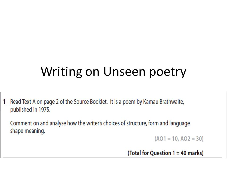Writing On Unseen Poetry Language Structure And Form