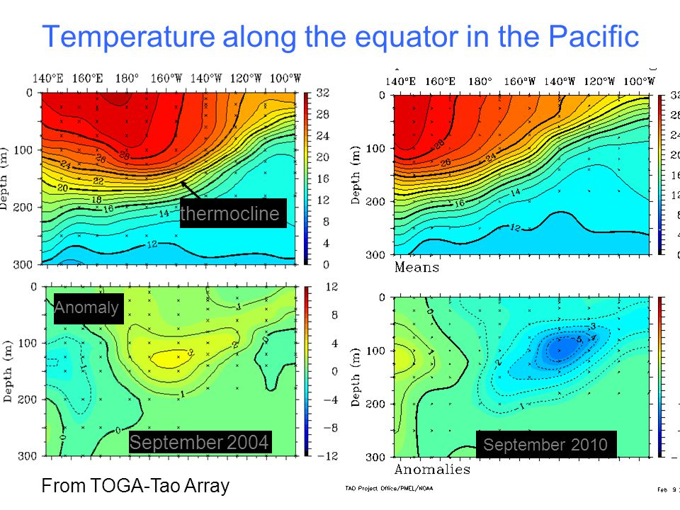 From TOGA-Tao Array Anomaly September 2004 thermocline Temperature along the equator in the Pacific September 2010