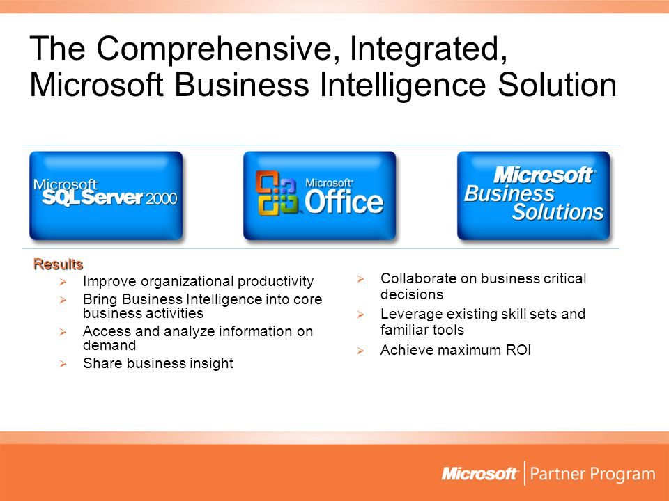 The Comprehensive, Integrated, Microsoft Business Intelligence Solution Results  Improve organizational productivity  Bring Business Intelligence into core business activities  Access and analyze information on demand  Share business insight  Collaborate on business critical decisions  Leverage existing skill sets and familiar tools  Achieve maximum ROI