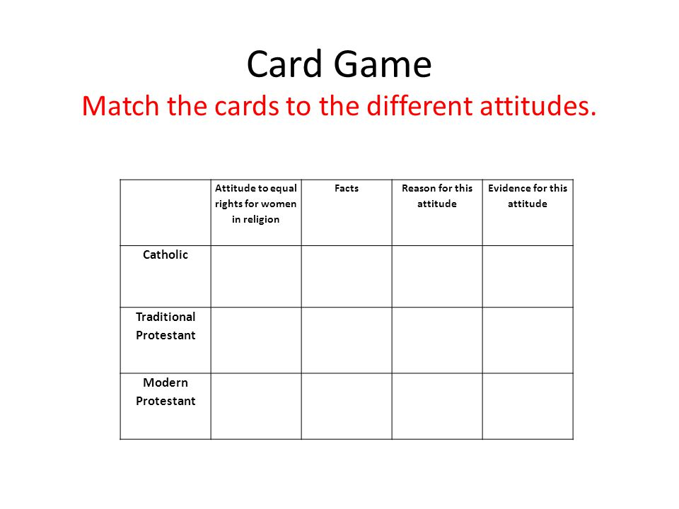 Card Game Match the cards to the different attitudes.