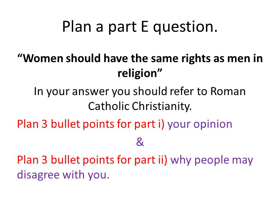 Plan a part E question.