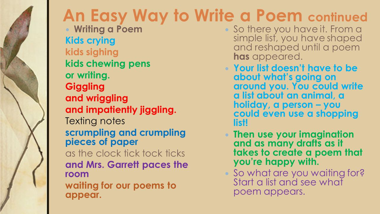 Poetry Creative Writing  ○ Want to write a poem but don't