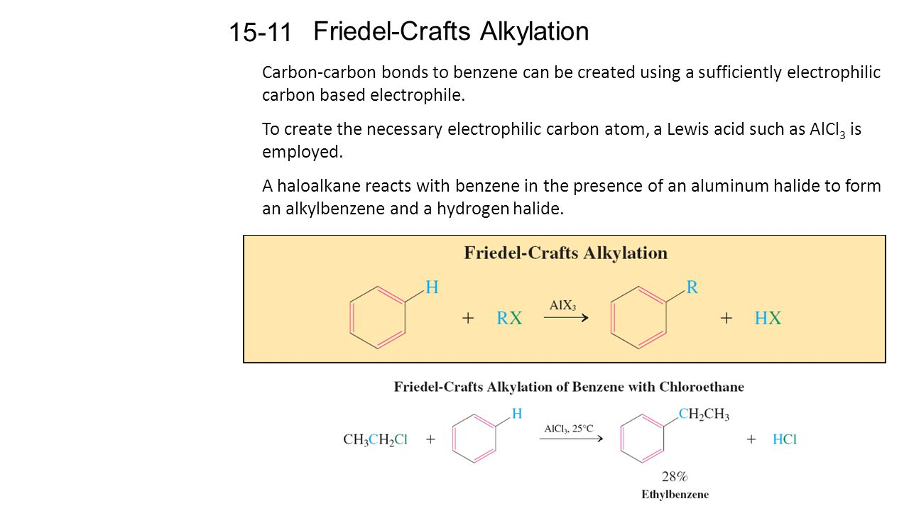 Friedel-Crafts Alkylation Carbon-carbon bonds to benzene can be