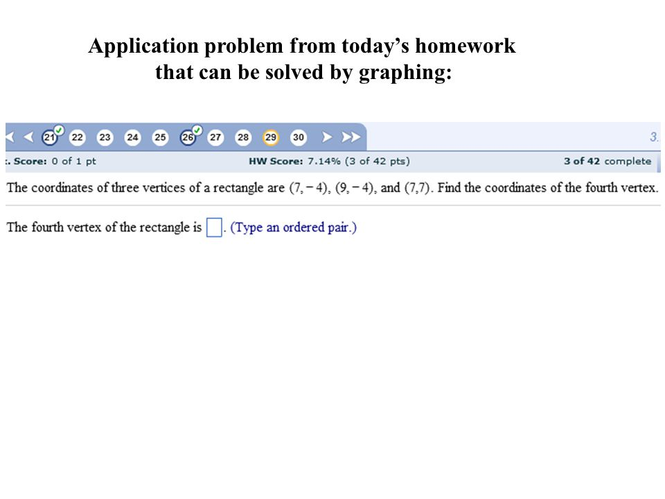 Application problem from today's homework that can be solved by graphing:
