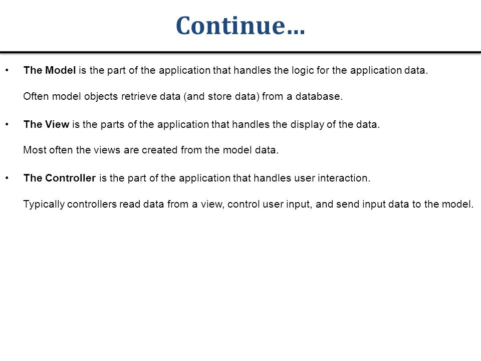 Continue… The Model is the part of the application that handles the logic for the application data.