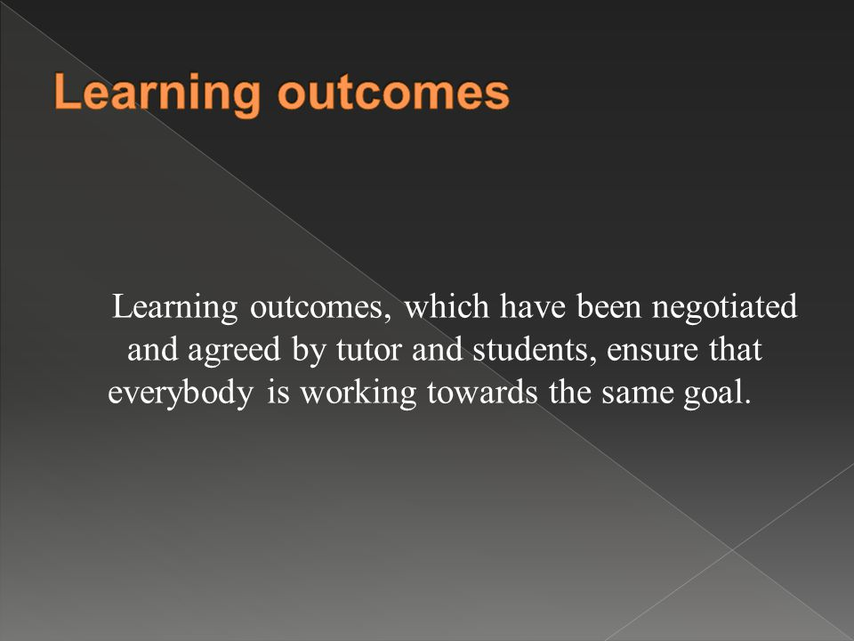Learning outcomes, which have been negotiated and agreed by tutor and students, ensure that everybody is working towards the same goal.