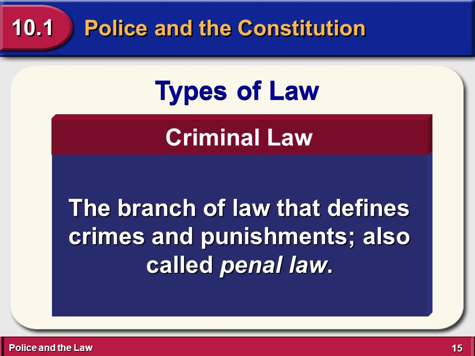 Police and the Law 15 Police and the Constitution 10.1 Types of Law The branch of law that defines crimes and punishments; also called penal law.