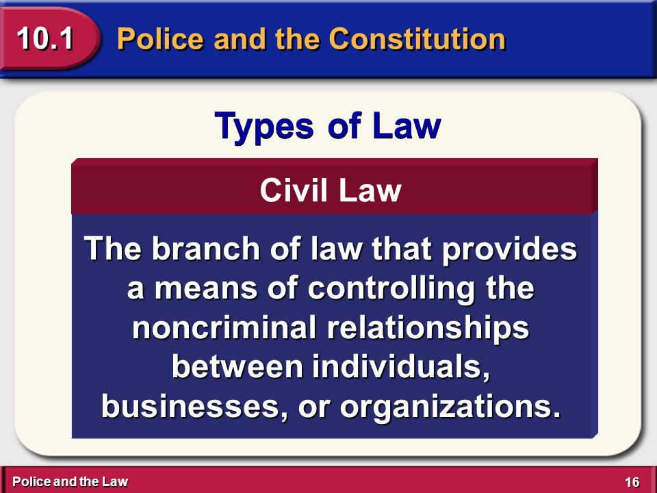 Police and the Law 16 Police and the Constitution 10.1 Types of Law The branch of law that provides a means of controlling the noncriminal relationships between individuals, businesses, or organizations.