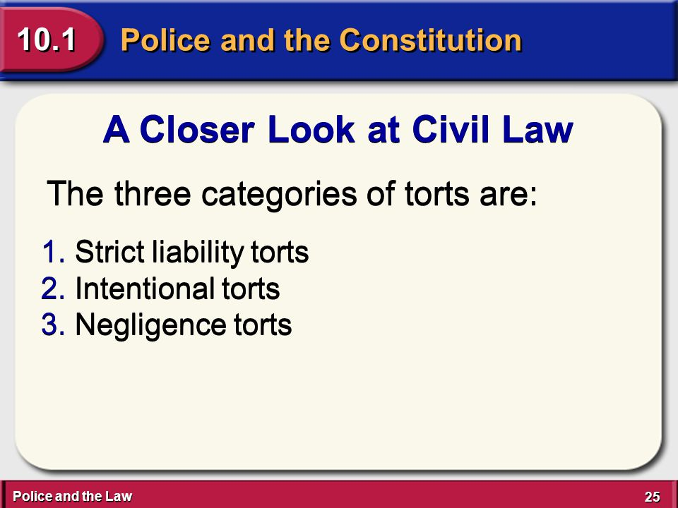 Police and the Law 25 Police and the Constitution 10.1 A Closer Look at Civil Law The three categories of torts are: 1.Strict liability torts 2.Intentional torts 3.Negligence torts 1.Strict liability torts 2.Intentional torts 3.Negligence torts