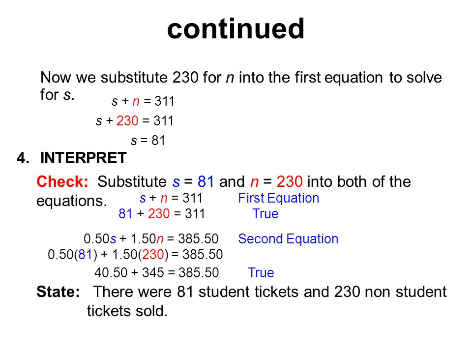 4.INTERPRET Check: Substitute s = 81 and n = 230 into both of the equations.