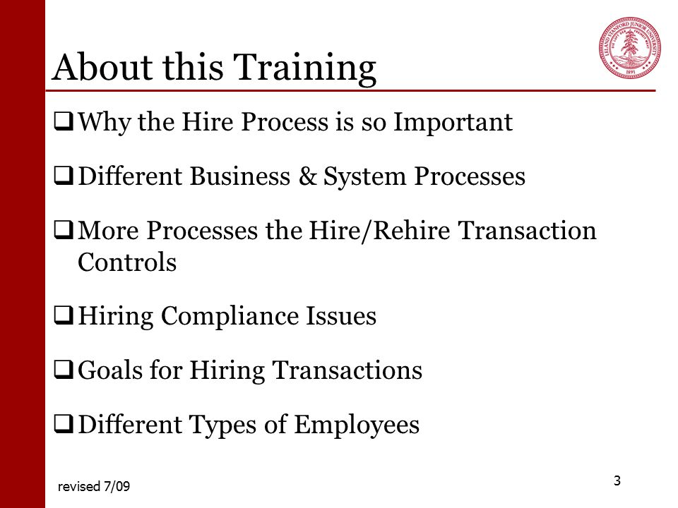 STANFORD UNIVERSITY Hire Processes including Transfer from a