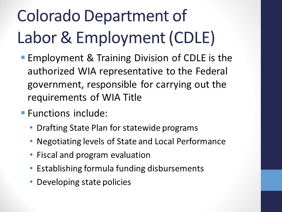 Colorado Department of Labor & Employment (CDLE)  Employment & Training Division of CDLE is the authorized WIA representative to the Federal government, responsible for carrying out the requirements of WIA Title  Functions include: Drafting State Plan for statewide programs Negotiating levels of State and Local Performance Fiscal and program evaluation Establishing formula funding disbursements Developing state policies