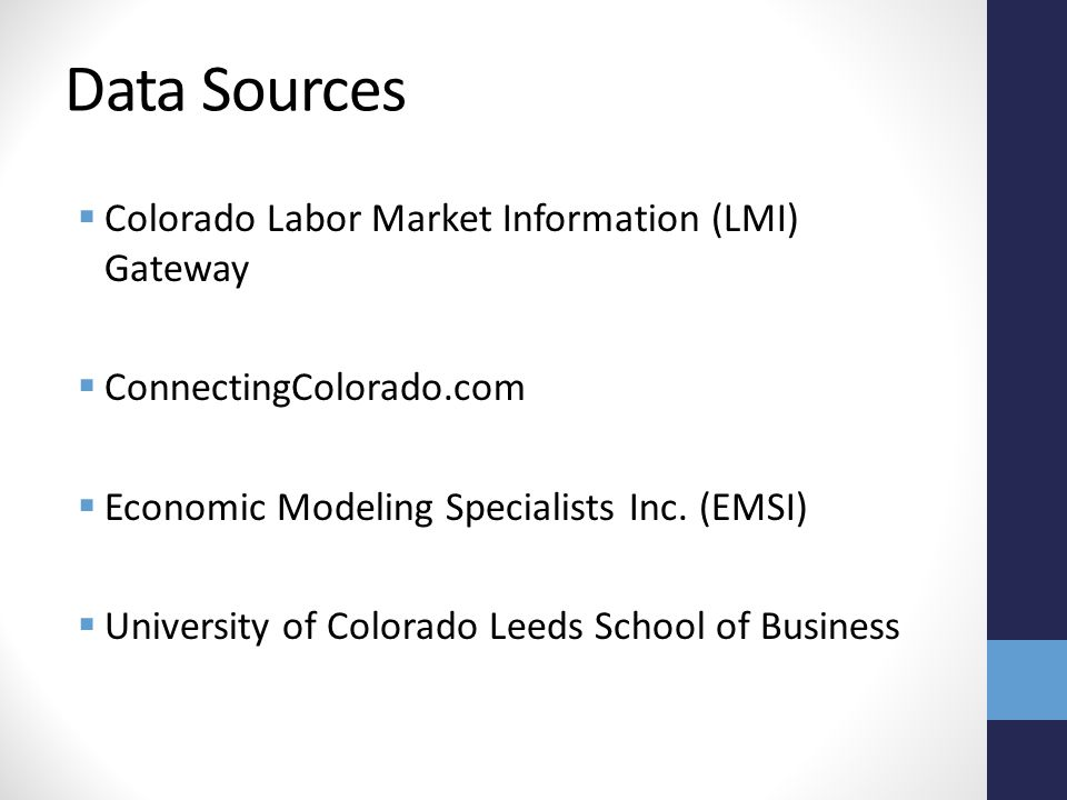 Data Sources  Colorado Labor Market Information (LMI) Gateway  ConnectingColorado.com  Economic Modeling Specialists Inc.