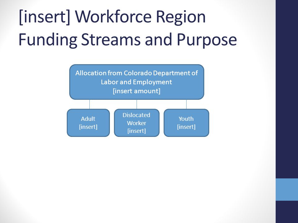 [insert] Workforce Region Funding Streams and Purpose Allocation from Colorado Department of Labor and Employment [insert amount] Adult [insert] Dislocated Worker [insert] Youth [insert]