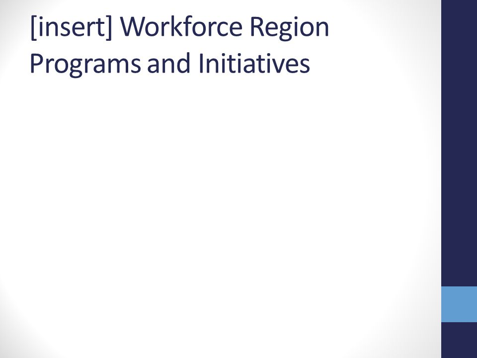 [insert] Workforce Region Programs and Initiatives