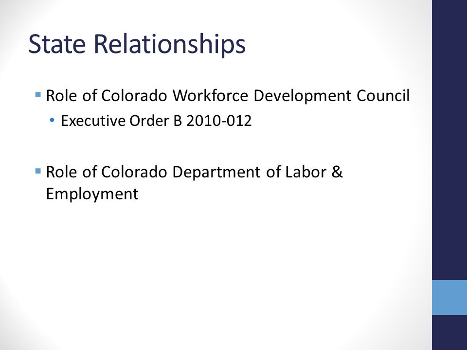 State Relationships  Role of Colorado Workforce Development Council Executive Order B  Role of Colorado Department of Labor & Employment