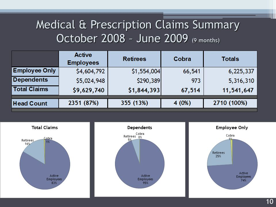 Medical & Prescription Claims Summary October 2008 – June 2009 (9 months) 10